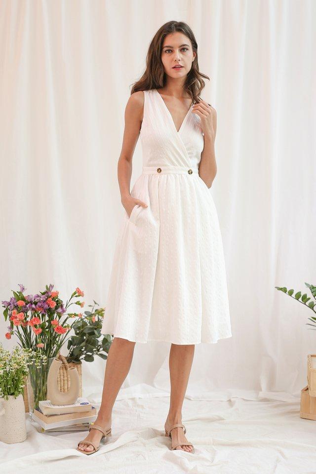 CORALE STRIPED WRAP DRESS WHITE