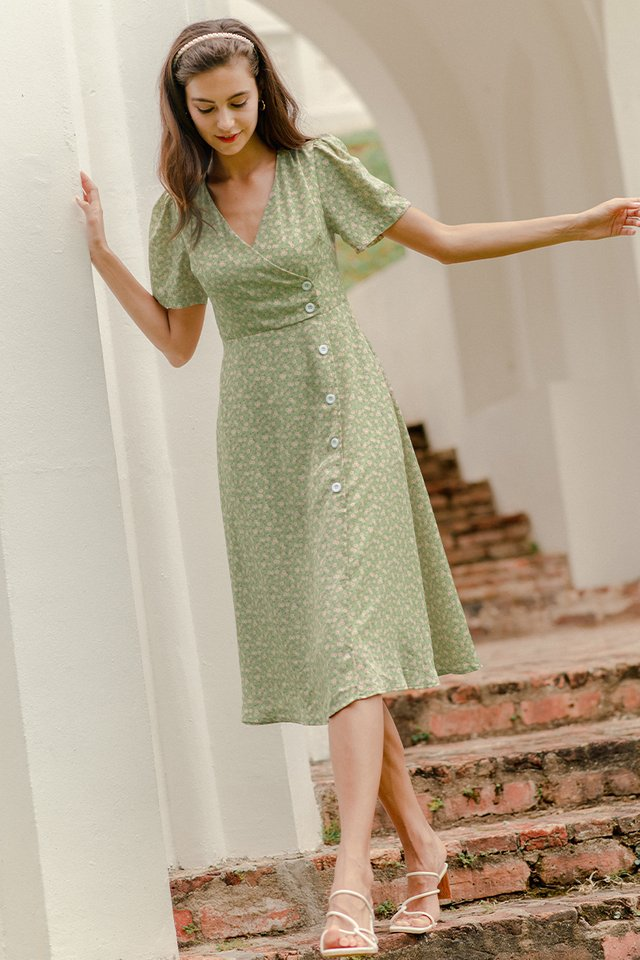 CLAUDIA FLORAL DRESS PEAR