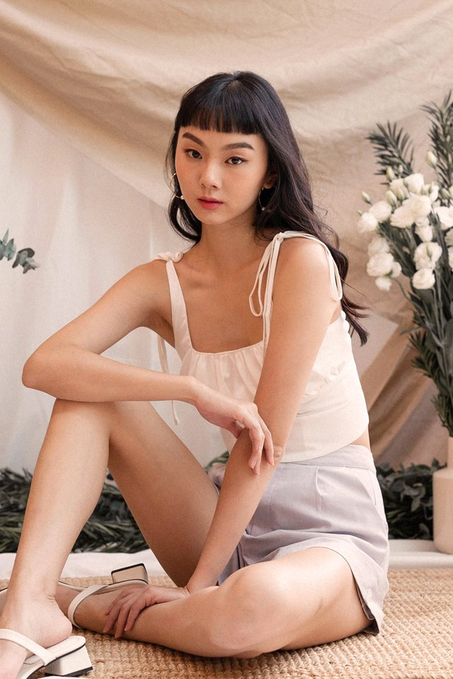 ERIKA RUCHED CROP TOP IVORY