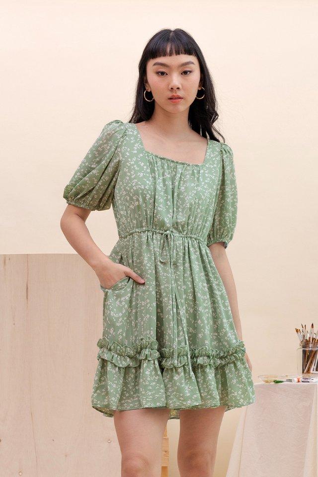 FREYA BABYDOLL DRESS GREEN