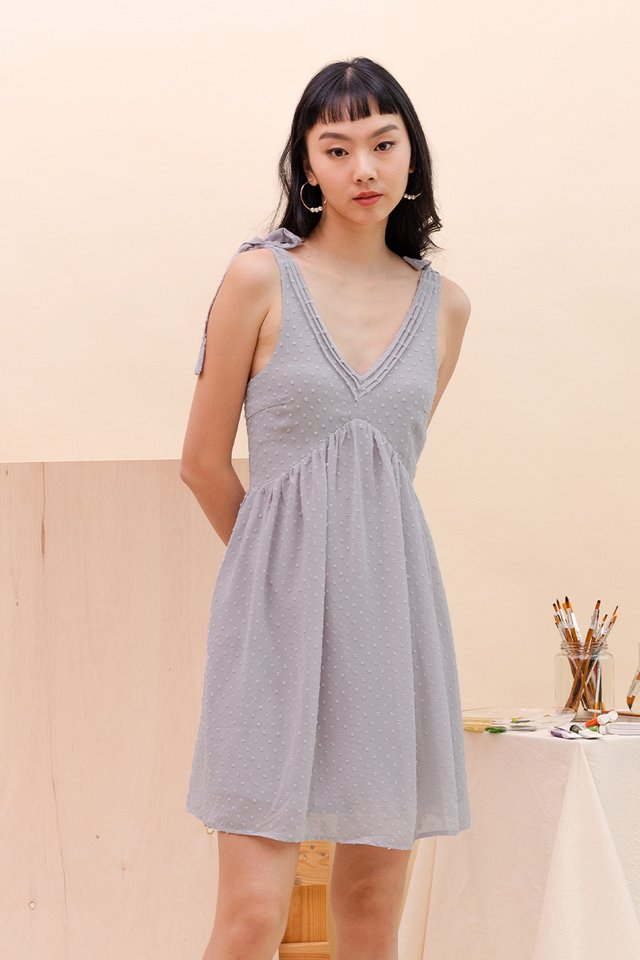 ADRIA SWISS DOT DRESS DOVE GREY