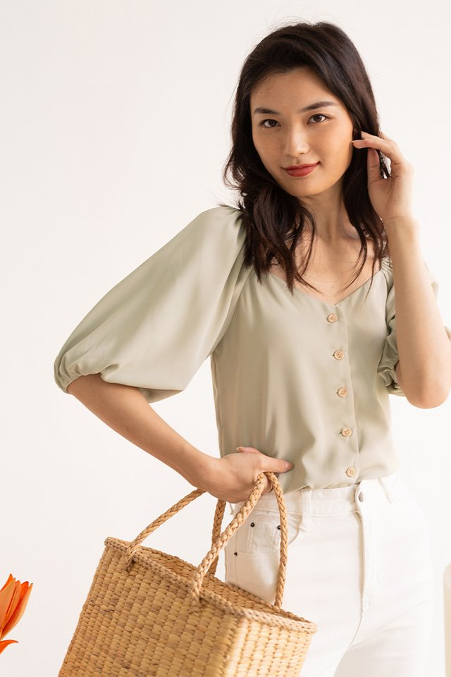 NADIA BUTTON DOWN TOP PINE