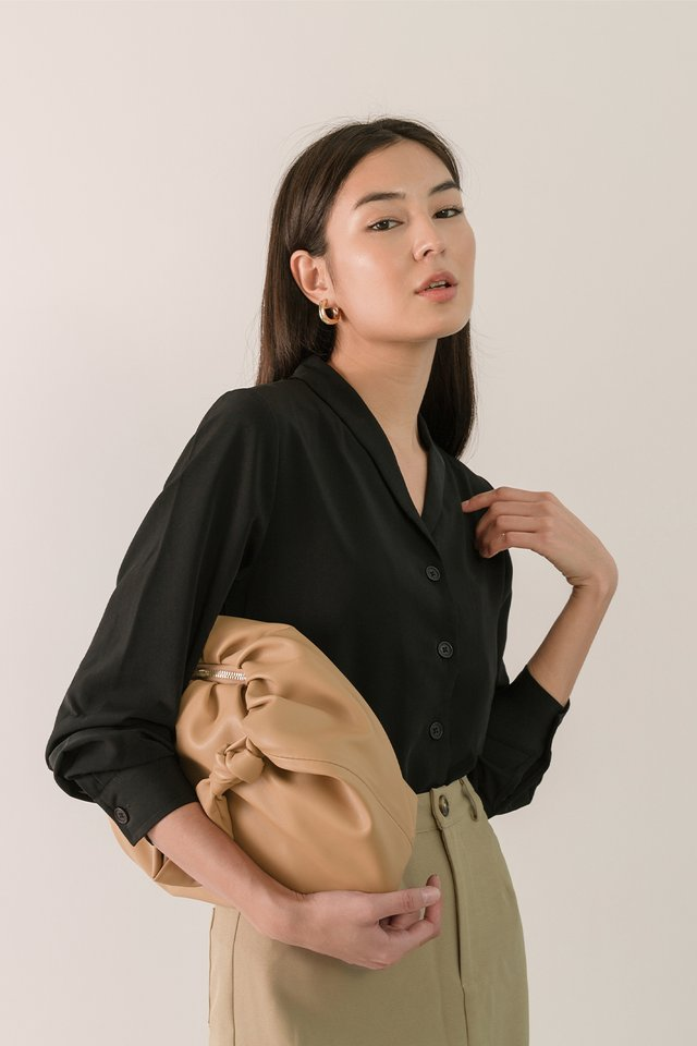 MILA SHAWL SHIRT BLACK