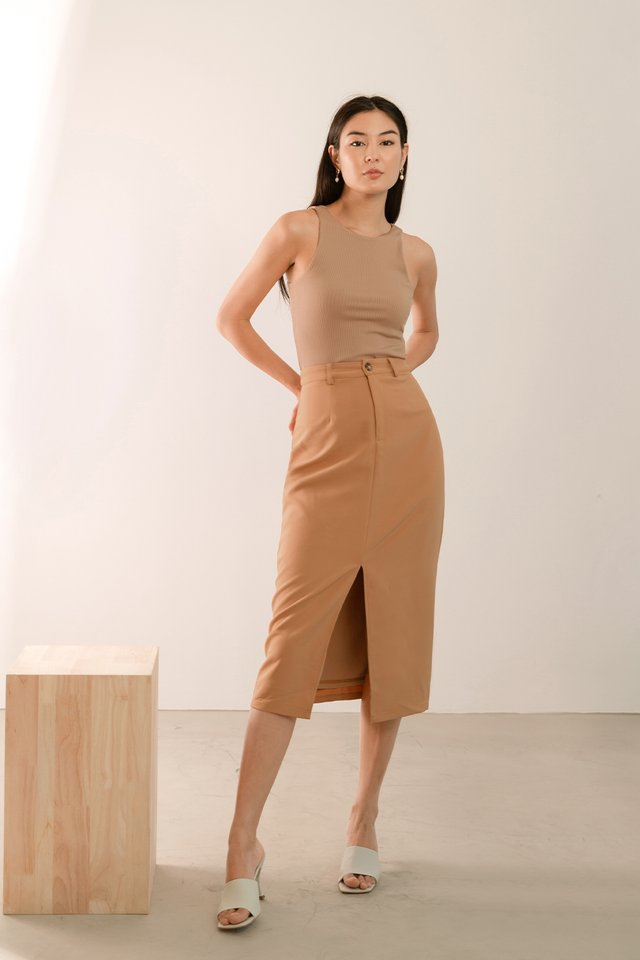 (BACKORDER) ZALIA SLIT FRONT SKIRT CHAI