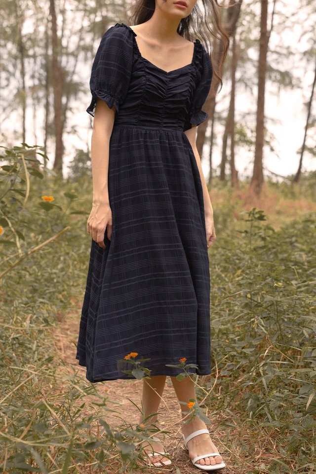 MELODY RUCHED DRESS NAVY