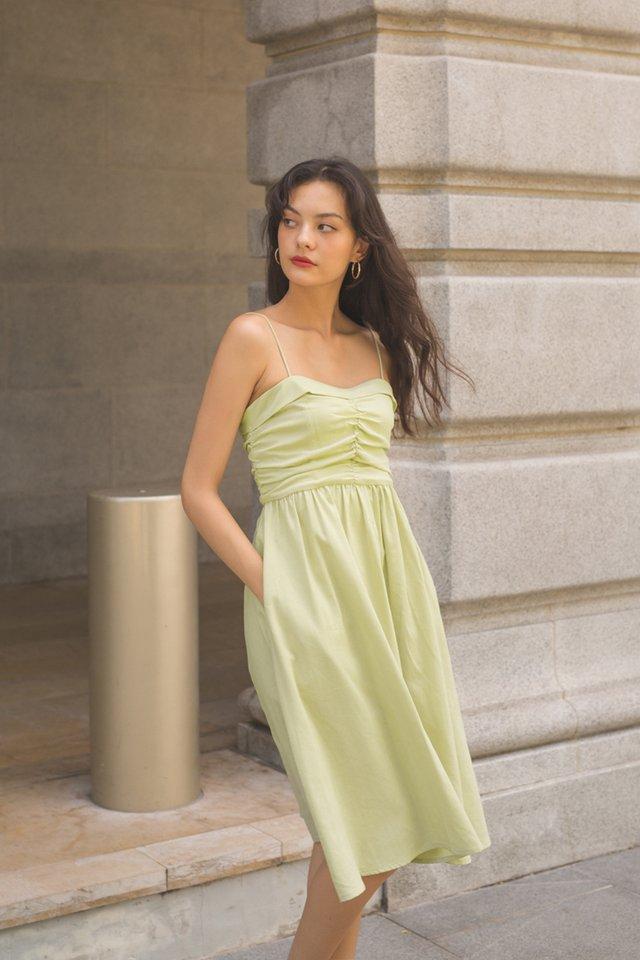 AMELIE PLEAT BODICE DRESS APPLE