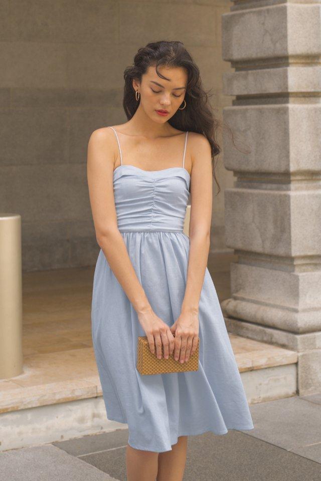 AMELIE PLEAT BODICE DRESS SKY
