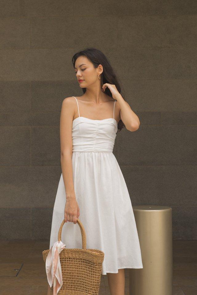 AMELIE PLEAT BODICE DRESS WHITE