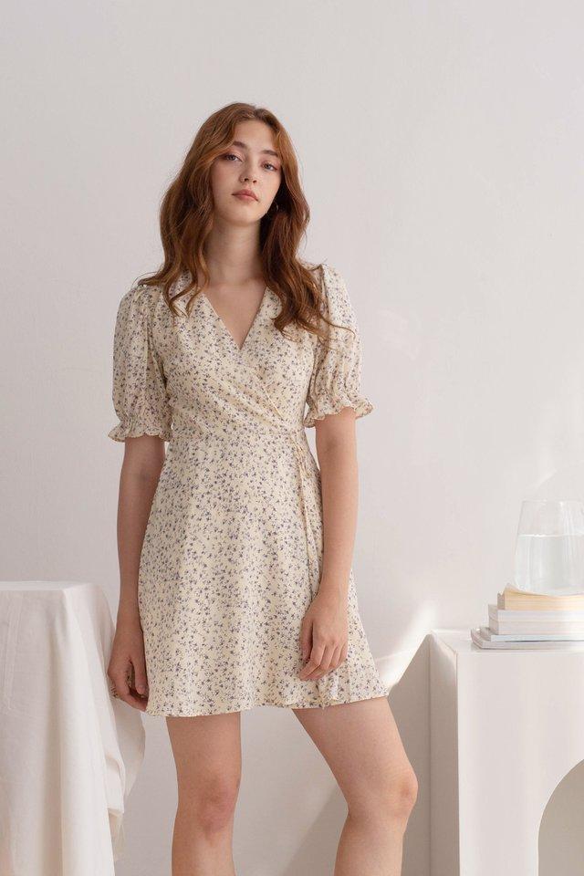 RENEE FLORAL WRAP DRESS CREAM