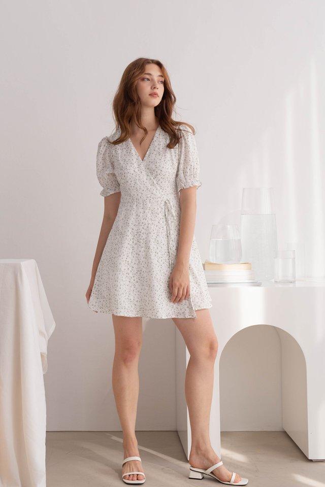 RENEE FLORAL WRAP DRESS WHITE