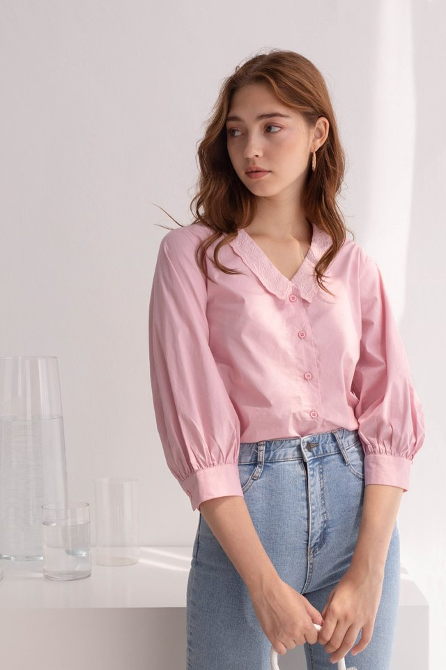 SUE COLLARED TOP PINK
