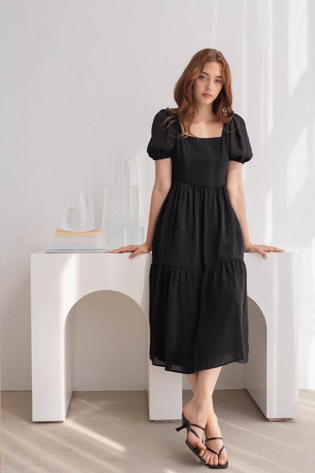 TALIA SQUARE NECK DRESS BLACK