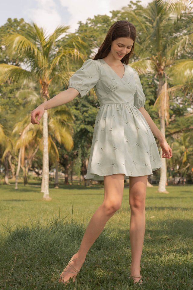 ALIXE POPLIN DRESS SAGE