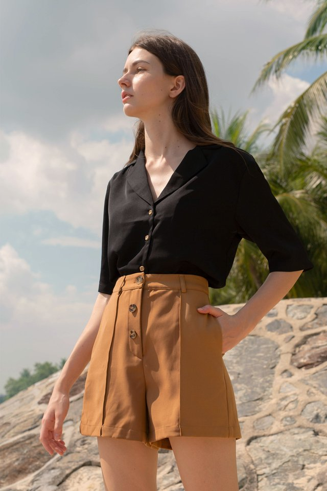 EDNA BUTTONFRONT SHORTS COFFEE