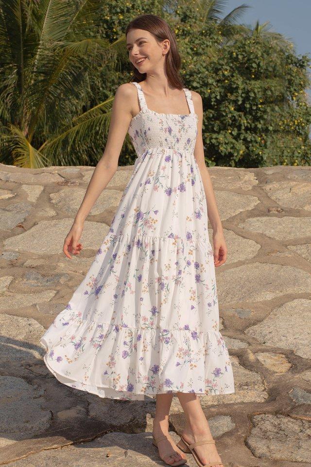 IVY SMOCKED BODICE DRESS WHITE FLORAL