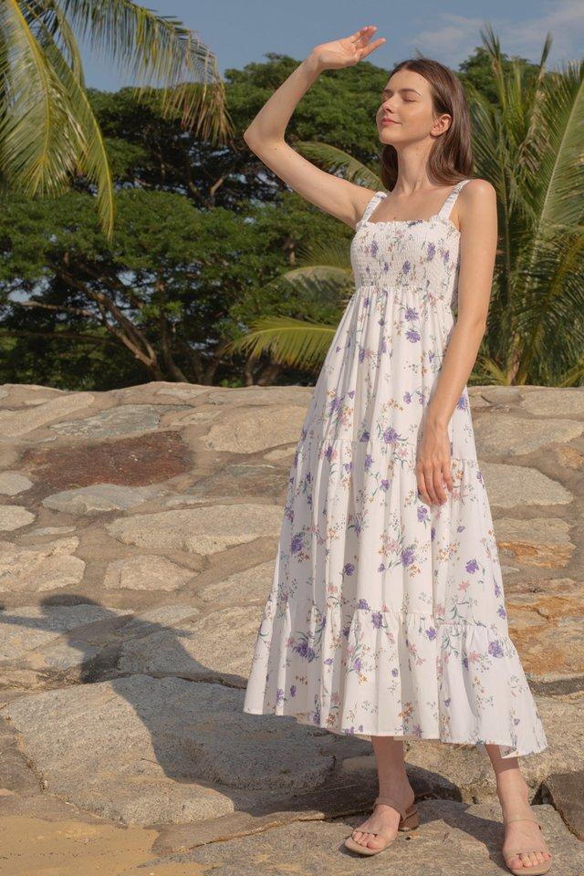 IVY SMOCKED BODICE DRESS WHITE