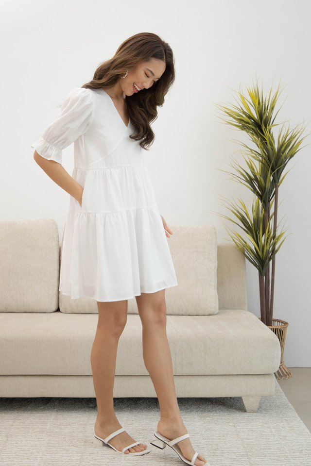 NADINE TIER COTTON DRESS WHITE