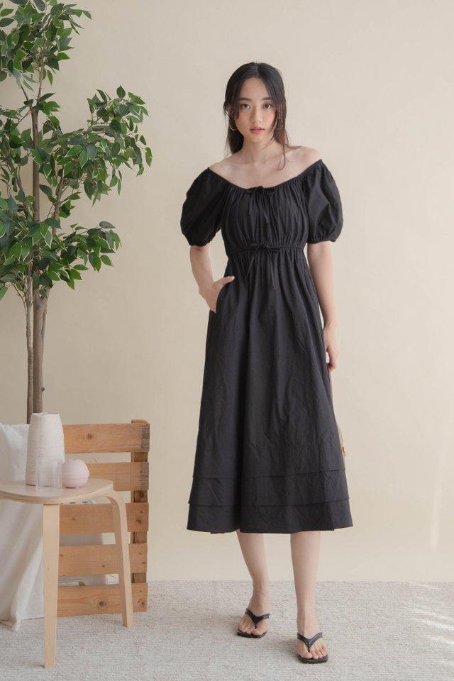 HANA POPLIN DRESS BLACK