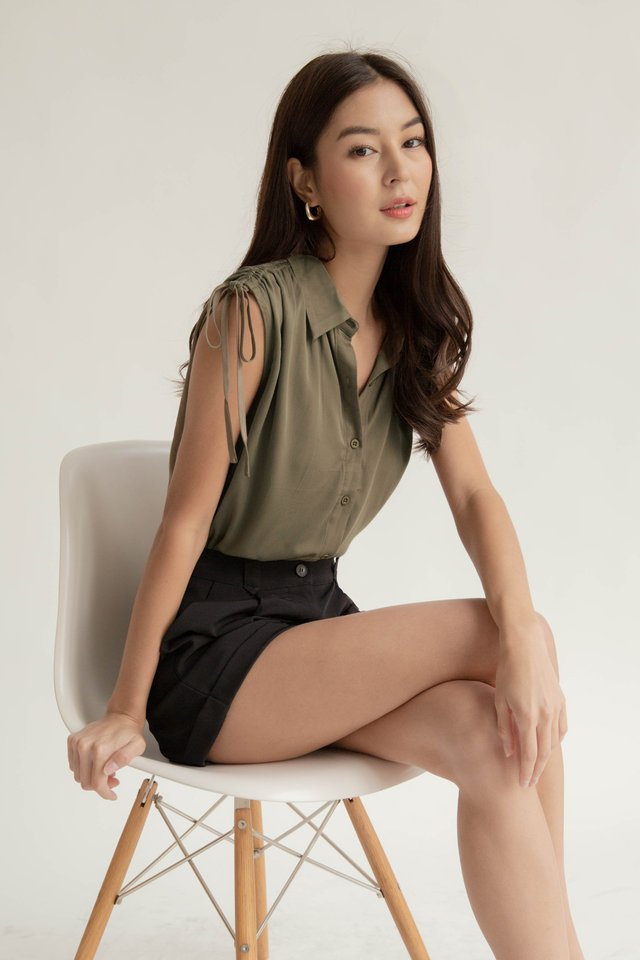 SHILOH RUCHED TOP OLIVE