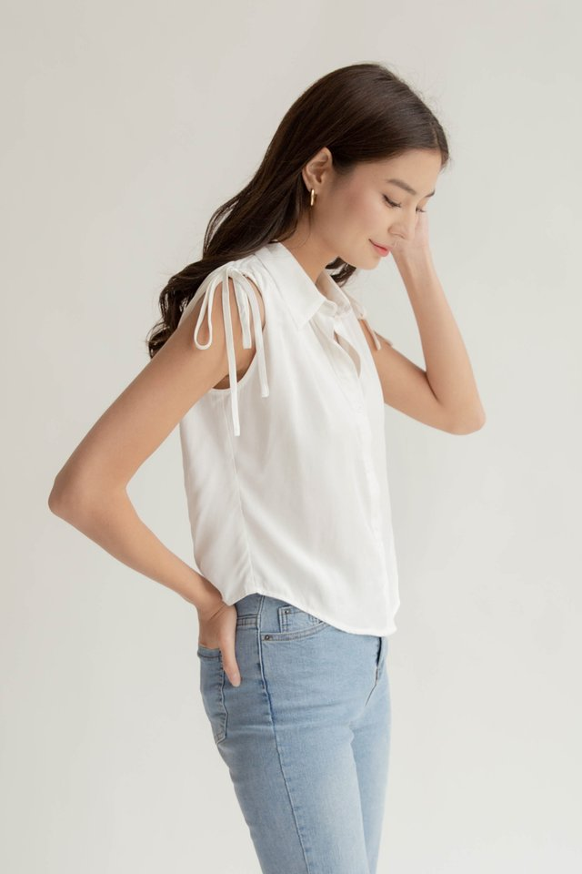 SHILOH RUCHED TOP WHITE