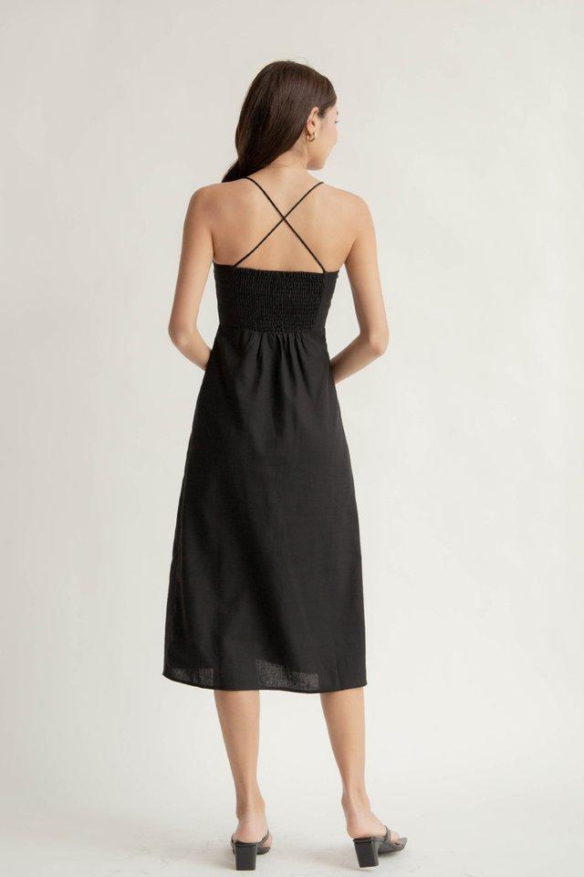 ZANIA LINEN FITTED DRESS BLACK