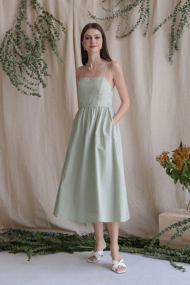 CAMILA EYELET BODICE DRESS SAGE