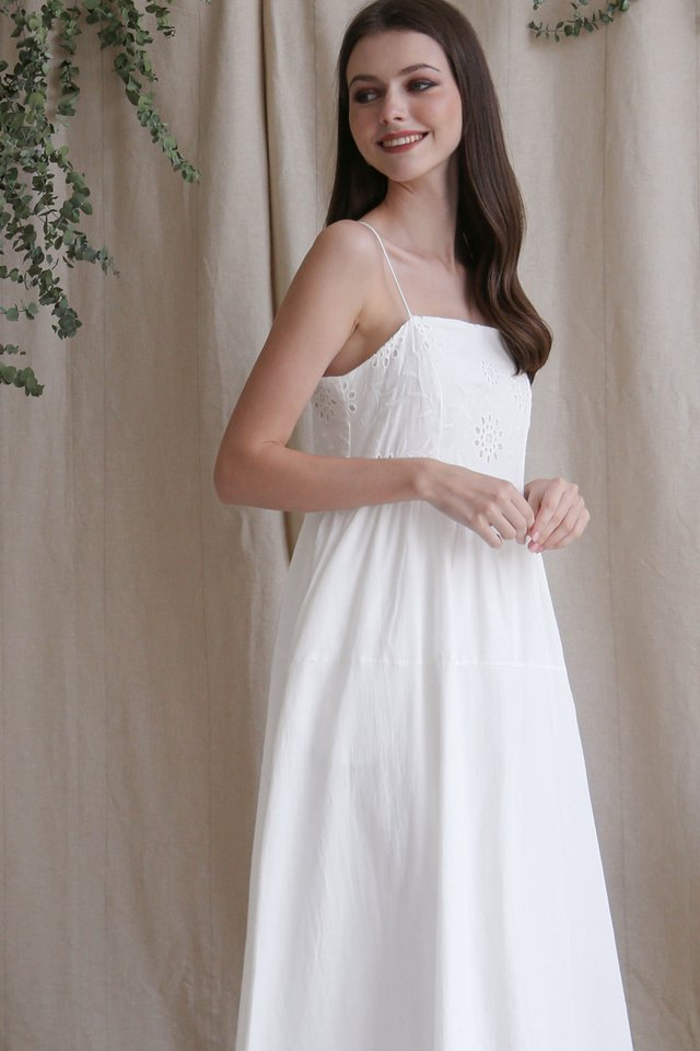 CAMILA EYELET BODICE DRESS WHITE