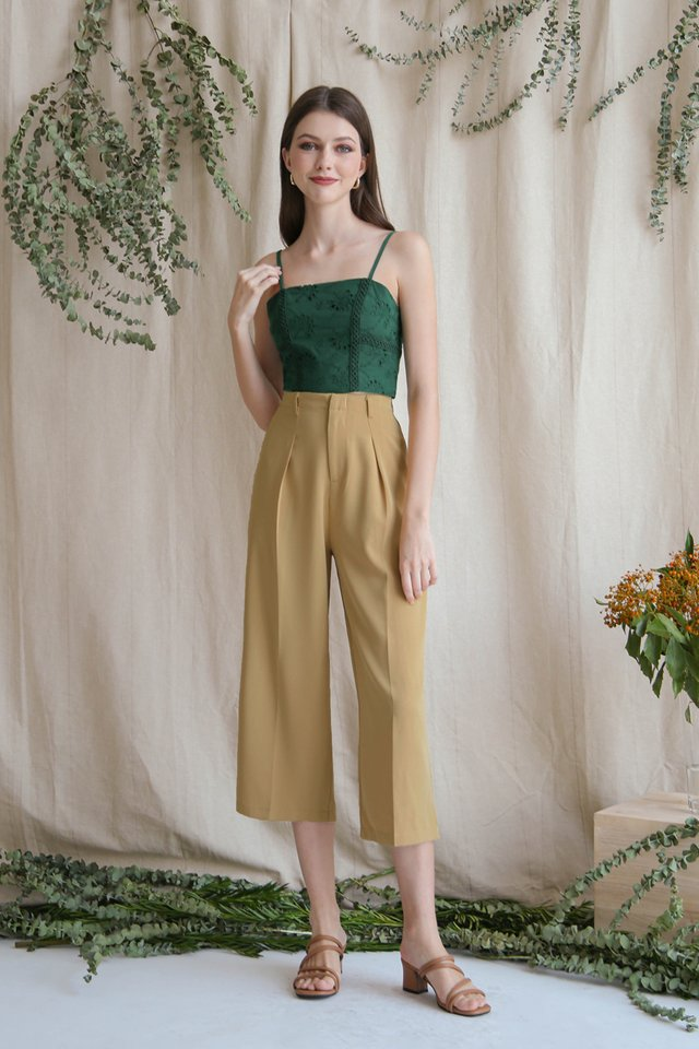 LEAH EYELET CROP TOP FOREST