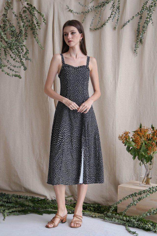NATALIA SLIT DRESS BLACK